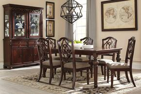 Leahlyn Collection 9-Piece Dining Room Set with Dining Room Table, 6 Side Chairs, Buffet and Hutch in Reddish Brown