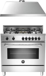"2-Piece Stainless Steel Kitchen Package with MAS365DFSXT 36"" Freestanding Natural Gas Range and KU36PRO1XV 36"" 400 CFM Range Hood"