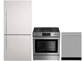 "3-Piece Kitchen Package with BRFB1812SSN 30"" Bottom Freezer Refrigerator, BGR30420SS 30"" Slide-in Gas Range, and a free DWT55100SS 24"" Built In Fully Integrated Dishwasher in Stainless Steel"