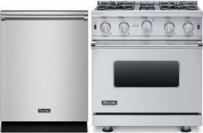 "2-Piece Stainless Steel Kitchen Package with VGIC53014BSS 30"" Freestanding Gas Range and FDW302WS 24"" Fully Integrated Dishwasher"