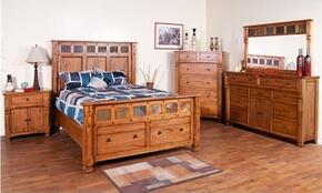Sedona Collection 2322ROQBDMN 4-Piece Bedroom Set with Queen Bed, Dresser, Mirror and Nightstandin Rustic Oak Finish