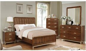 Tychus Collection CM7559QBDMCN 5-Piece Bedroom Set with Queen Bed, Dresser, Mirror, Chest and Nightstand in Dark Oak Finish