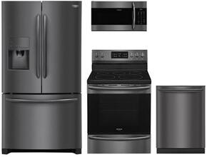 "4-Piece Kitchen Package with FGHF2367TD 36""  French Door Refrigerator, FGEF3059TD 24"" Electric Freestanding Range , FGMV176NTD 30"" Over The Range Microwave oven and FGID2466QD 24"" Built in Dishwasher in Black Stainless Steel"