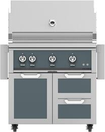 "36"" Freestanding Natural Gas Grill with GCR36DG Tower Grill Cart with Three Doors, in Pacific Fog Dark Gray"