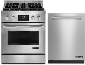 """2-Piece Kitchen Package With JGRP430WP 30"""" Freestanding Gas Range and JDB9000CWP 24"""" Built In Fully Integrated Dishwasher in Stainless Steel"""