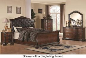 Maddison 202261KEDM2NC 6-Piece Bedroom Set with King Sleigh Bed, Dresser, Mirror, 2 Nightstands and Chest in Cappuccino Finish