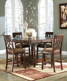 Leahlyn Collection 5-Piece Dining Room Set with Dining Room Counter Table and 4 Barstools in Medium Brown