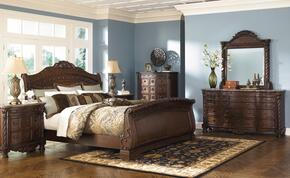 North Shore Collection King Bedroom Set with Sleigh Bed, Dresser, Mirror and Nightstand in Dark Brown