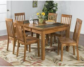 Sedona Collection 1273RODT6C 7-Piece Dining Room Set with Dining Table and 6 Chairs in Rustic Oak Finish