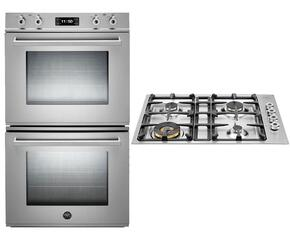 "Professional Series 2-Piece Stainless Steel Kitchen Package with FD30PROXT 30"" Double Electric Wall Oven and QB30400X 30"" Gas Cooktop"