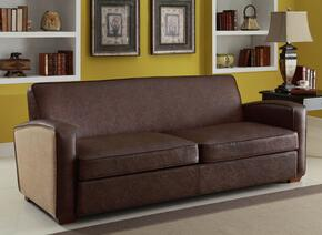 LC10793BR2SETSL Antique Brown 2 Piece Livingroom Set, Sofa and Loveseat with 1.8 Density Fire Retardant Foam, Natural Jute Fabric and Antique Bonded Leather Finish in Brown