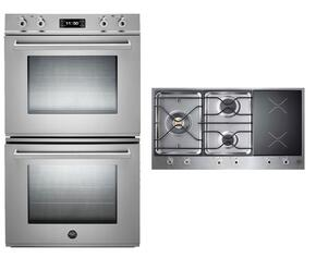 "Professional Series 2-Piece Stainless Steel Kitchen Package with FD30PROXT 30"" Double Electric Wall Oven and PM363I0X 36"" Electric/Gas Cooktop"