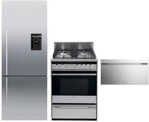 "3-Piece Stainless Steel Kitchen Package with RF135BDRUX4 25"" Counter-Depth Right Hinge Bottom-Freezer Refrigerator, OR24SDMBGX2 24"" Freestanding Gas Range and DD24SDFX7 24"" Semi Integrated Single Drawer Dishwasher"