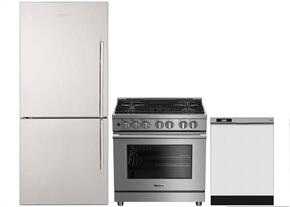 "3-Piece Kitchen Package with BRFB1812SSLN 30"" Counter Depth Bottom Freezer Refrigerator, BGRP34520SS 30"" Freestanding Gas Range, and a free DWT25200SSWS 24"" Built In Full Console Dishwasher in Stainless Steel"