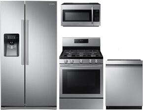 "4-Piece Kitchen Package with RS25J500DSR 36"" Side by Side Refrigerator, NX58H5600SS 30"" Freestanding Gas Range, ME18H704SFS 30"" Over the Range Microwave Oven, and DW80M2020US 24"" Built In Fully Integrated Dishwasher in Stainless Steel"