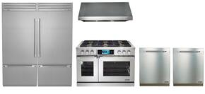 "6 Piece Kitchen Package With DYRP48DSNG 48"" Gas Range, RNHP4818S 30"" Wall Mount Hood, DYF36BFTSL DYF36BFTSR 30"" Bottom Freezer Refrigerator, RDW24S 24"" built In Dishwasher x2 and ARDWP24H  24"" Dishwasher Handle x2"