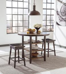 Moriann D608-13-124 3-Piece Dining Room Set with Round Counter Dining Table and Two 24