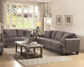 Samuel Sofa Collection 5051752PC 3-Piece Living Room Set with Sofa and Love Seat in Charcoal Fabric Upholstery