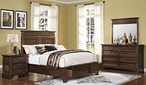 00186EBDMN Grandview 4 Piece Bedroom Set with Storage King Bed, Mirror and Nightstand, in Brown