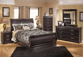 Esmarelda Queen Bedroom Set with Sleigh Bed, Dresser, Mirror and Nightstand in Dark Merlot