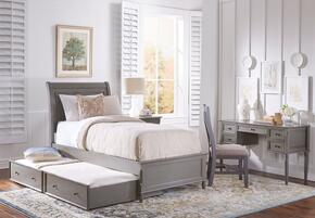 Avignon Youth Collection 1618TPBTD 2-Piece Bedroom Set with Twin Panel Bed with Trundle and Desk in Grey