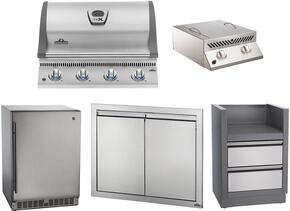 """5-Piece Stainless Steel Outdoor Package with BILEX485PSS1 29"""" Liquid Propane Grill, Side Burner, Outdoor Refrigerator, Access Door, and Storage Drawer"""