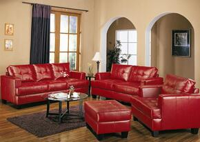 Samuel 501831SLCO 4 PC Living Room Set with Sofa + Loveseat + Chair + Ottoman in Red Color
