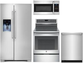 "4-Piece Kitchen Package with EI26SS30JS 36"" Side By Side Refrigerator, EI30IF40LS 30"" Electric Freestanding Range, EI24ID50QS 24"" Built In Dishwasher and  EI30SM35QS 30"" Over The Range Microwave Oven Stainless Steel"