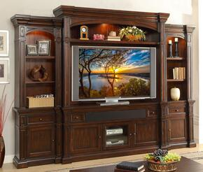 "Berkshire ZBRK1776TVCH2B2T 6-Piece Entertainment Center with 78"" Wide TV Console, Hutch, Left and Right Pier Bases, and Left and Right Pier Tops in Old World Umber Finish"
