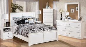 Melton Collection Queen Bedroom Set with Panel Bed, Dresser, Mirror and Nightstand in White