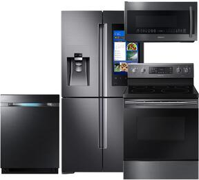 4-Piece Black Stainless Steel Kitchen Package with RF28M9580SG 36