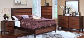 00145EBDMNC Bishop 5 Piece Bedroom Set with King Bed, Dresser, Mirror, Nightstand and Chest, in Chestnut/Ginger