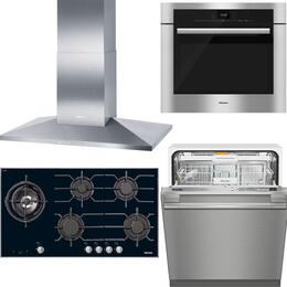 "4-Piece Stainless Steel Kitchen Package with KM3054LP 37"" Liquid Propane Cooktop, DA3906 40"" Mount Ducted Hood, H6580BP 30"" Single Wall Oven, and G4998SCVISF 24"" Fully Integrated Dishwasher"