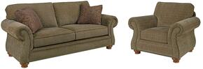 Laramie 5081SC/8491-26/8417-85 2-Piece Living Room Set with Sofa and Chair in 8491-26 Green with 8417-85 Pillows