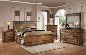 Arielle 24477EK5PC Bedroom Set with Eastern King Size Bed + Dresser + Mirror + Chest + Nightstand in Slate and Oak FInish