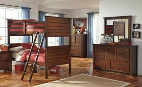 Ladiville Twin Bedroom Set with Bunk Bed, Dresser and Mirror in Rustic Brown