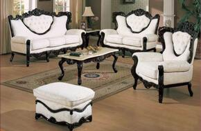 702WHITES3SET Traditional Style Sofa in White with Jacquard Fabric + Loveseat + Chair