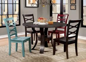 Gisela Collection CM3518RT2BSC2SC 5-Piece Dining Room Set with Round Table, 2 Black Side Chairs, Red and Blue Side Chair in Espresso