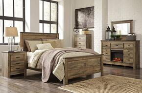 Trinell Queen Bedroom Set with Panel Bed, Dresser, Mirror, Nightstand and Chest in Brown