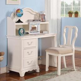 Ira 301523PC Desk Set with Desk + Hutch + Chair in White Color