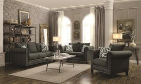 Emerson Collection 504911-S3 3 PC Living Room Set with Sofa + Loveseat + Chair in Charcoal Color