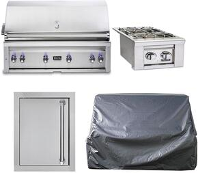 "4-Stainless Steel Outdoor Kitchen Package with VQGI5540NSS 54"" Built-In Natural Gas Grill, VQGSB5130NSS 13"" Side Burner, VOADS5240SS 24"" Access Door, and CV154BI 54"" Grill Covers"