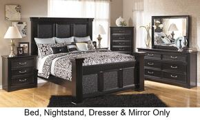 Cavallino Bedroom Set in Deep Black with Queen Size Mansion Bed + Dresser + Mirror + 2-Drawer Nightstand (wrong sku)