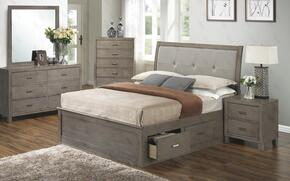 G1205BFSBDMN 4 Piece Set including Full Storage Bed, Dresser, Mirror and Nightstand in Gray