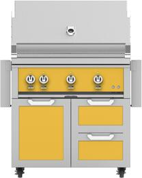 "36"" Freestanding Natural Gas Grill with GCR36YW Tower Grill Cart with Triple Doors, in Sol Yellow"