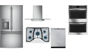"5 Piece Kitchen Package with PGP953SETSS Gas Sealed Cooktop, PFE28KSKSS36"" French Door Refrigerator, PDT845SSJSS24"" Built Dishwasher, PT7550SFSS Electric Double Wall Oven and PVW7301SJSS 30"" Wall-Mount Canopy Chimney Hood"