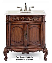 "Premier Collection Provence 101127513827PBL 38.25"" Vanity Package with Midnight Black Stone Top and Porcelain White Sink in Aged Chestnut Finish"