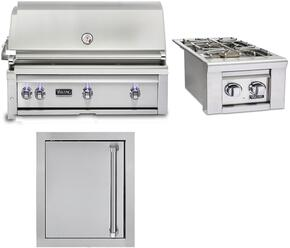 """3-Piece Stainless Steel Outdoor Kitchen Package with VQGI5420LSS 42"""" Built-In Liquid Propane Grill, VQGSB5130LSS 13"""" Side Burner, and VOADS5180SS 18"""" Access Door"""