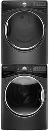 "Black Diamond Front Load Laundry Pair with WFW92HEFBD 27"" Washer, WGD92HEFBD 27"" Gas Dryer and W10869845 Stacking Kit"