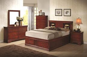 Louis Philippe 200439QDMNC 5-Piece Bedroom Set with Queen Storage Bed, Dresser, Mirror, Nightstand and Chest in Cherry Finish